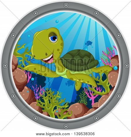 cute sea turtle cartoon on the frame