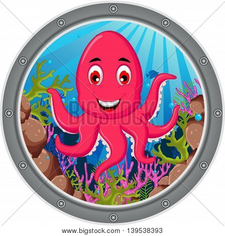 cute octopus posing cartoon on the frame