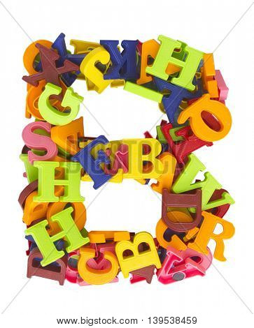 the letter    B  made from a lot of Magnetic letters