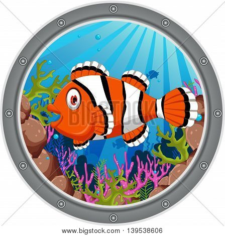 cute clown fish cartoon on the frame