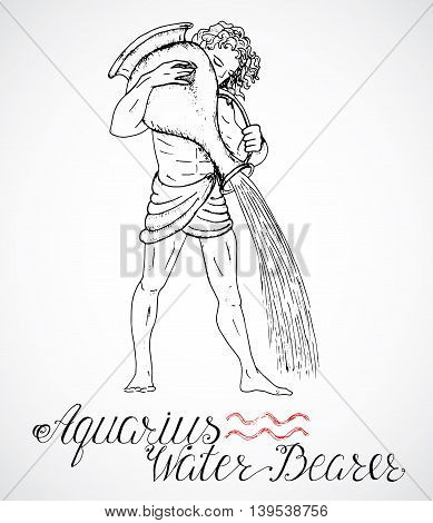 Hand drawn astrological zodiac sign Water Bearer or Aquarius. Line art vector illustration of engraved horoscope symbol. Man with pitcher or jar. Doodle drawing and sketch with calligraphic lettering