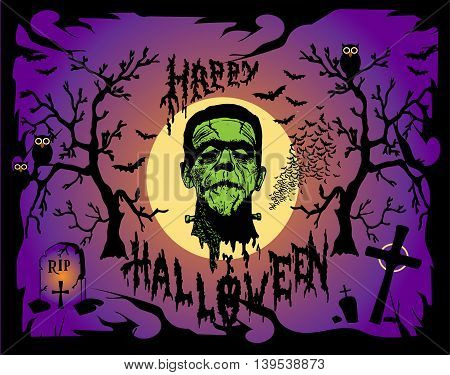Halloween background vector with Frankenstein head purple color