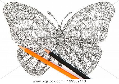Butterfly Made With Pattern Of Dots. Seamless Handmade Pattern With Butterfly. Dotted Butterfly With