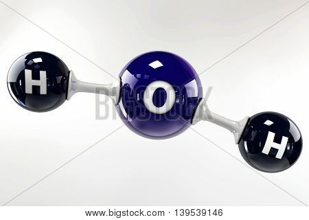 A 3D Illustration Blue Molecule Of Water On A Grey Background