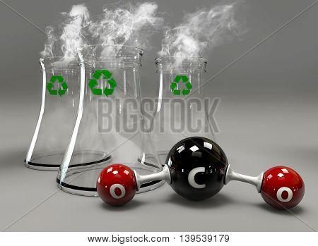 3D Illustrator Co2 Molecule With Chimney On Gray Background.