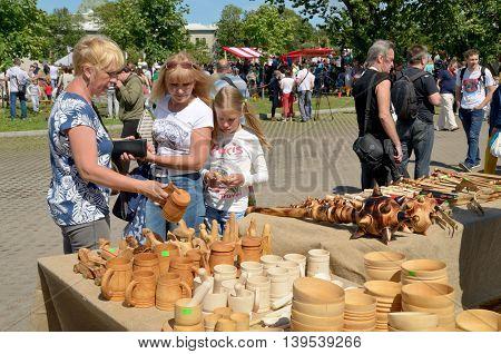 17.07.2016.Russia.Saint-Petersburg.The fair of folk craftsmen exhibited various goods on sale.