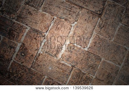 Old Brick footpath background pattern in asia