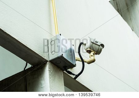 Security cameras at the corner of the building, CCTV.