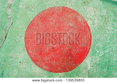 Green basketball court  with red circle v