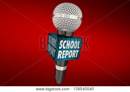 School Report Education News Microphone Update 3d Illustration