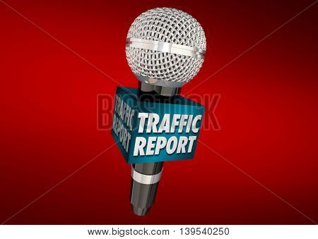 Traffic Report Road News Update Microphone 3d Illustration
