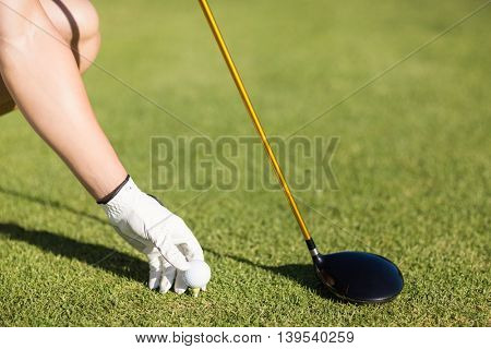 Cropped image of golfer man placing golf ball on tee at field