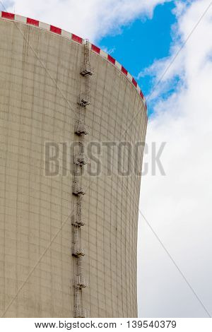 Close-up of the cooling tower of the nuclear power plant Temelin - Czech Republic