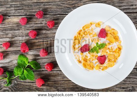 crispy corn flakes with raspberry and cold milk in white wide rim plate decorated with mint leaves on wooden worktop traditiobal and quick breakfast view from above