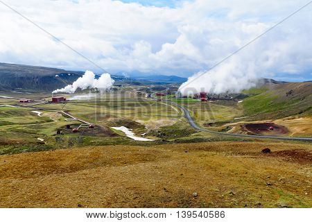 Krafla Volcano And A Geothermal Power Station