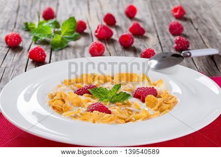 corn flakes with dewberry and milk in white wide rim plate decorated with mint leaves on napkin with spoon close-up view from above