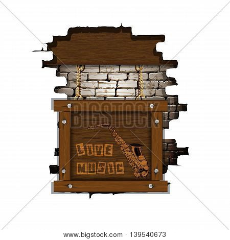Music background live music with saxophone in a wooden frame placed in the failure of the old brick wall. Isolated object you can place any text or image.
