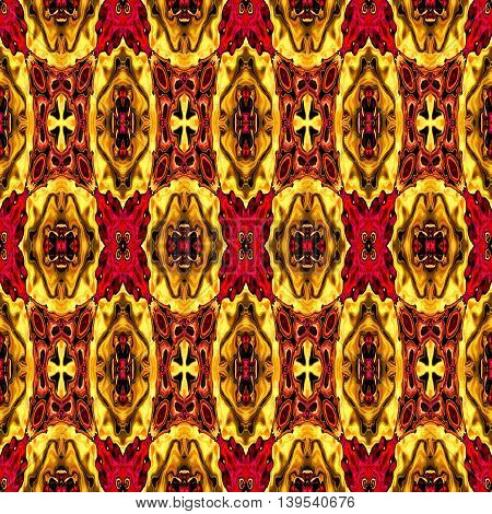 Abstract decorative multicolor (gold, red) texture - kaleidoscope pattern