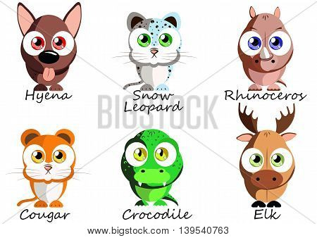Wild. Set funny animals for use as stickers pictures in books games fabric and other projects