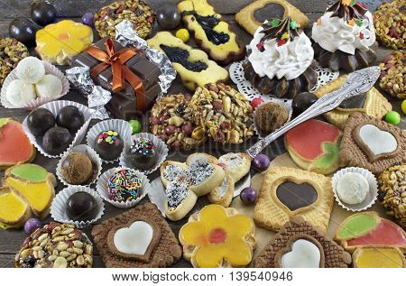Background with homemade sweet things, cookies and candies