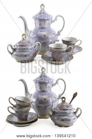 Set of old porcelain service isolated on white