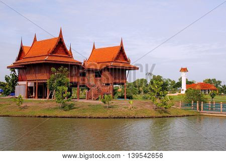 Thai style housethai style home at countryside made buy wood