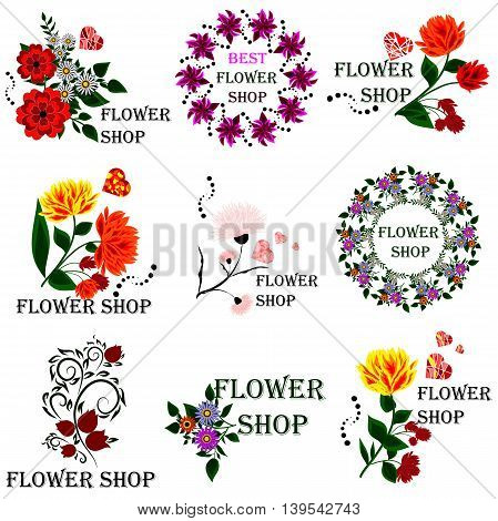 Set badges and stickers for the floriculture industry florists or for signage or advertising flower shop