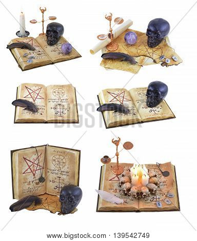 Halloween collection with magic book and scary objects