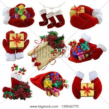 Isolated Christmas collection with Santa mittens, gifts and decorations