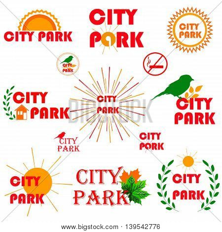 Set of badges stickers and signboards for parks or other recreational places for children and families