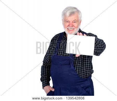 Senior Laughing craftsmen showing a white sign