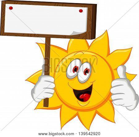 sun cartoon thumb up with holding blank board