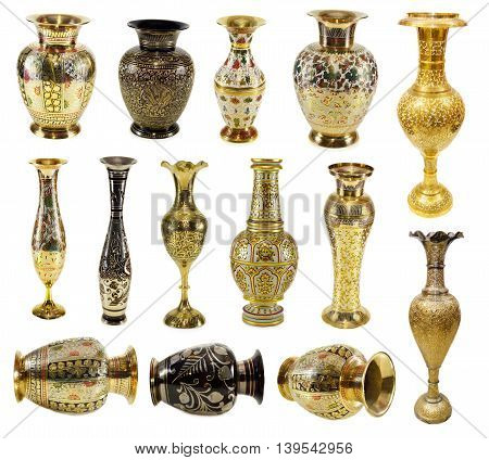 Big collection of Indian vases isolated on white