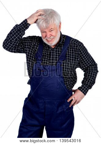 Senior craftsmen scratching his head isolated on white background