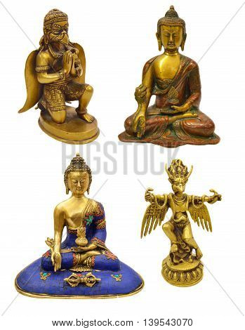 Set with Hindu and Buddhist religious figurines