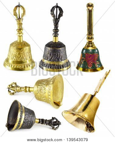 Set with various decorated bells isolated on white