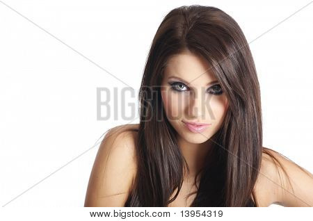 young beautiful woman with long hair.