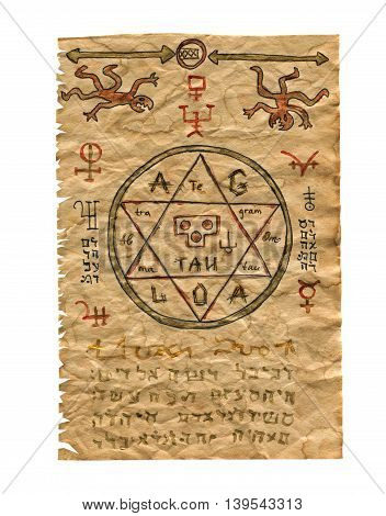 Paper from magic book with mystic symbols and pentagram
