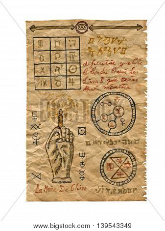 Old paper from magic book with mystic symbols