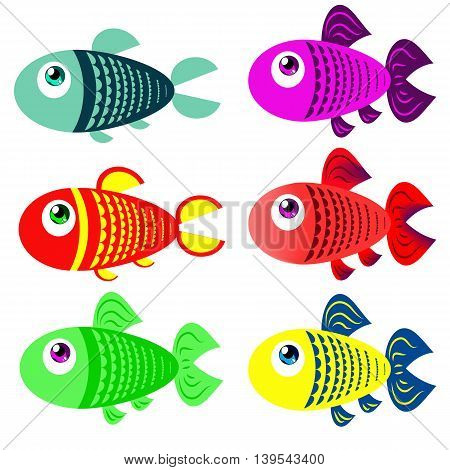 Set of colored fish in cartoon style. It can be used in children's books cards or other