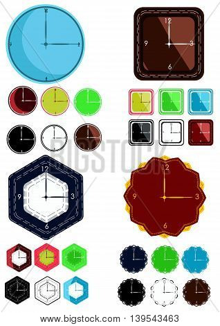 Set of watches and clocks of different color and shape