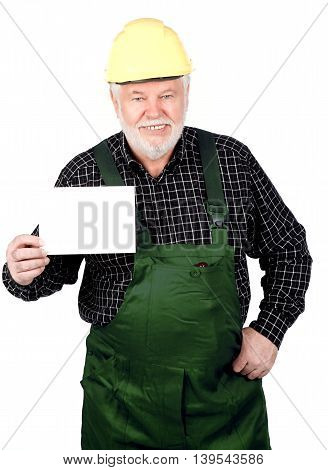 Smiling senior craftsmen Shows withe sign isolated on white background