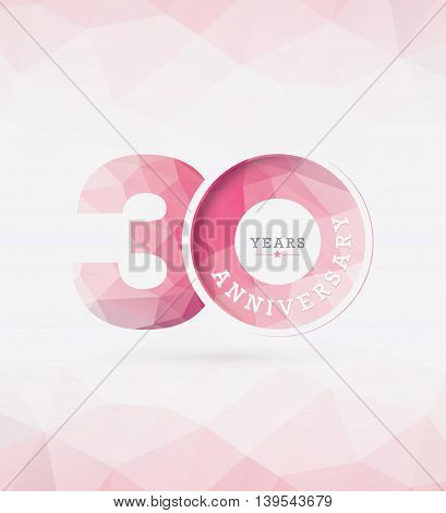 30th Year Anniversary Celebration Design in Abstract Polygon Background