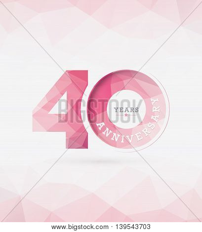 40th Year Anniversary Celebration Design in Abstract Polygon Background
