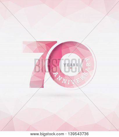 70th Years Anniversary Celebration Design in Abstract Polygon Background