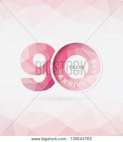 90th Years Anniversary Celebration Design in Abstract Polygon Background