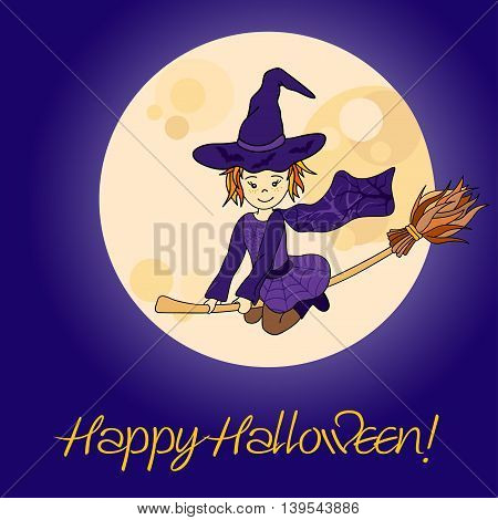 Cute little witch flying. Cartoon vector illustration with full moon. Halloween card