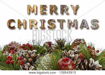 Merry Christmas message with a seasonal decorative wreath