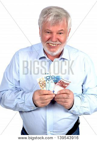 Smiling pensioners keeps a Money in hand