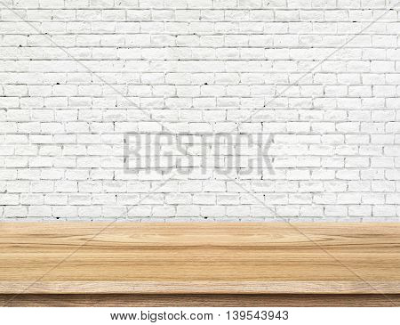Empty Wood Table And White Brick Wall In Background. Product Display Template.